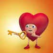 red Valentine heart cartoon holding golden key