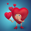 red Valentine heart cartoon with funny face thinking