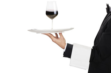 young waiter in work uniformonwith wine glass
