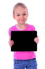 child holding a tablet