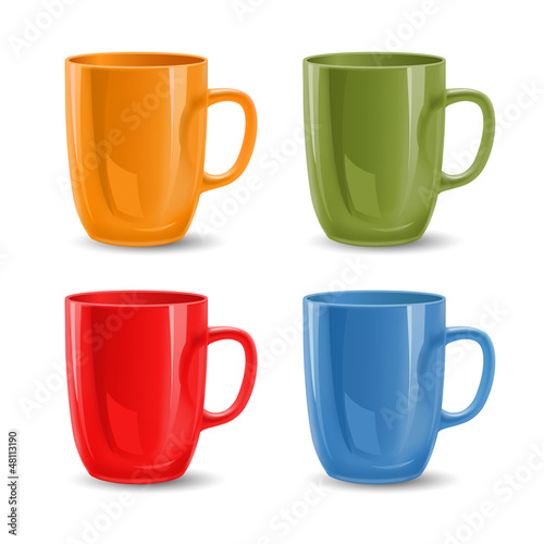 Set of colored mugs, vector illustration