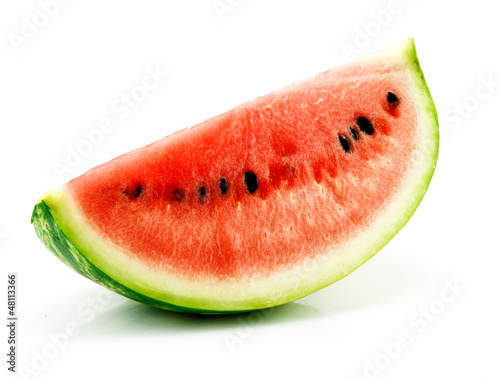 Portion of Ripe Green Watermelon Isolated on White