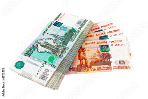 Russian rubles bills isolated on white background