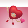 funny Valentine red heart cartoon holding banner