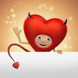 funny Valentine devil heart cartoon character holding banner
