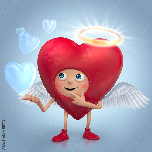 funny red heart angel cartoon with halo and wings