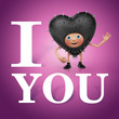 love you. Funny brutal Valentine Day greeting heart cartoon