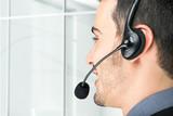 Businessman using an headset