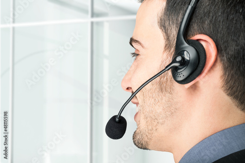 Businessman using an headset