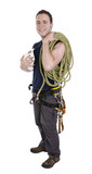 rock climber with equipment including rope, harness and helmet
