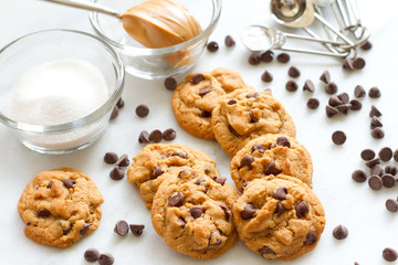 Flourless Peanut Butter and Choc Chip cookies_close horizontal