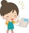 電話で楽しそうにしゃべる主婦