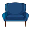 A blue cushion chair