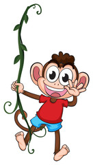 A monkey hanging on a plant