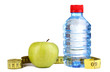 Bottle of water, apple and measuring tape isolated on white
