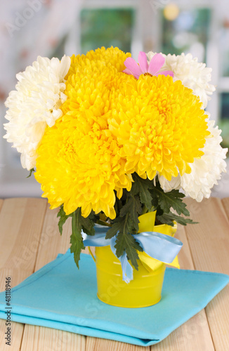 Beautiful chrysanthemum in pail