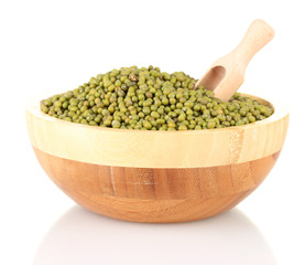 Green mung beans  with scoop in bowl isolated on white