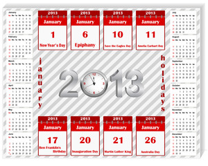 Calendar 2013 with holiday calendar icon for january.