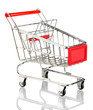 empty shopping trolley, isolated on white