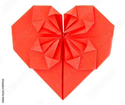 Origami paper heart isolated on white. - 48119523