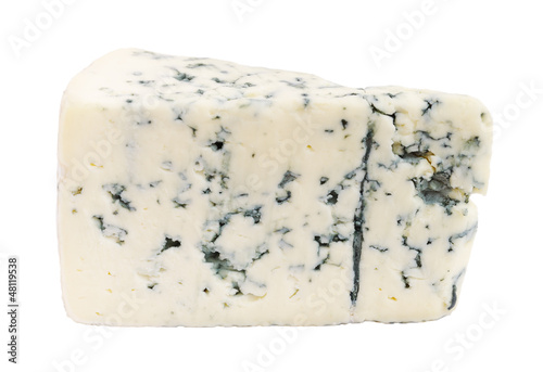 Cheese with mold isolated on white background