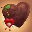 Valentine's day sweet cherry and chocolate heart cartoon