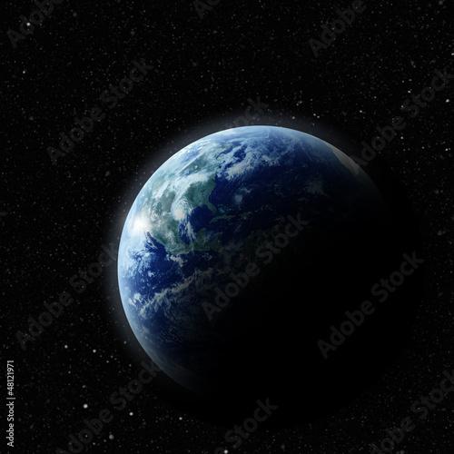 realistyczny Planeta Ziemia w przestrzeni