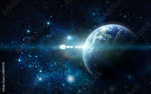realistic planet earth in space © merydolla