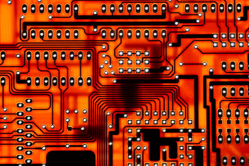 red computer circuit board background