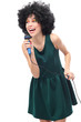 Young woman with afro hair and microphone