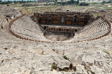 Theater ruins in Hieropolis, Pamukkale, Turkey