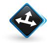 icône diriger sur bouton carré bleu design