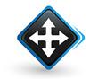 icône directions sur bouton carré bleu design
