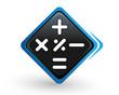 icône calculatrice sur bouton carré bleu design