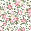 Seamless pattern with pink and white roses. Vector illustration. - 48123948