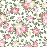 Fototapety Seamless pattern with pink and white roses. Vector illustration.