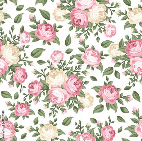 Nahtloses Muster mit den rosa und weißen Rosen. Vektor-Illustration.