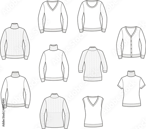 Vector illustration of women's jerseys