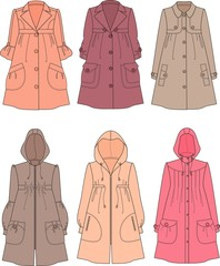 Vector illustration of women's raincoats