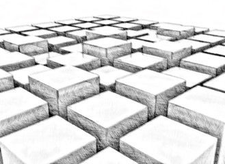 Abstract background cubes pencil drawing