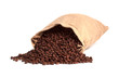 Coffee bag fully filled with roasted beans. Isolated on white.