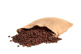 Coffee bag with roasted beans. Isolated on white.