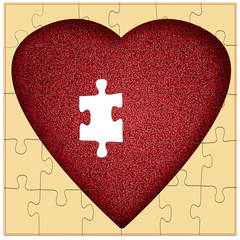 Valentine puzzle - missing piece to my heart, concept