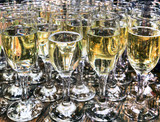 Crystal glasses with champagne