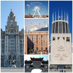 Collage of different images of Liverpool, United Kingdom
