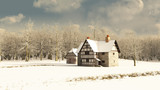 Medieval Farmhouse in Winter