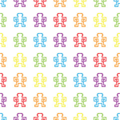 retro rainbow pixel game monkey pattern