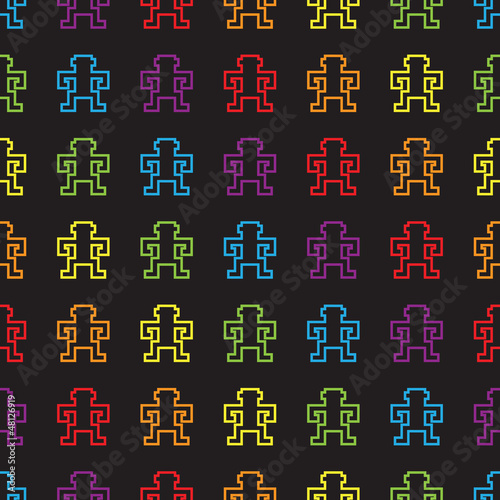 seamless retro pixel game rainbow monkey pattern