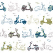 seamless retro vintage scooter vector pattern