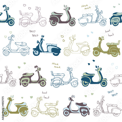 seamless retro vintage scooter vector pattern - 48127175